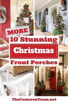 10 MORE stunning Christmas front porches that are sure to get you in the holiday spirit. Christmas Tree Forest, Cozy Christmas, Beautiful Christmas, All Things Christmas, Christmas Wreaths, Christmas Decorations, Christmas Ideas, Christmas Recipes, Christmas Crafts