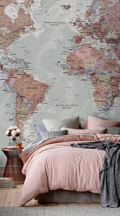 Pink world map wall mural wallpaper murals textbook and wall murals our classic world map mural is a beautiful design that is akin to old retro style textbook maps combining wonderful colour with superb detail all over gumiabroncs Gallery