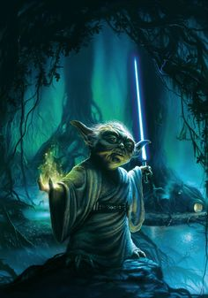 Sweet Yoda picture but the lightsaber CAN'T be blue!!