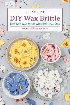 See how to make pretty DIY wax brittle! Homemade scented soy wax bark is an natural recipe to make your house smell amazing and provide relaxation. Best Wax Melts, Diy Wax Melts, Scented Wax Melts, Brittle Recipes, Easy Handmade Gifts, Homemade Candles, Diy Candles, Candle Wax, Natural Recipe