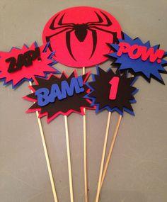 Spiderman Centerpiece, 5pc, Superhero party, Spiderman  Party, Spiderman  Birthday Party by InspiredbyLilyMarie (($))