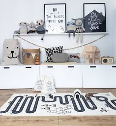 Monochrome Children's room, White Ikea storage and wicker basket storage. Scandi themed nursery and typography prints