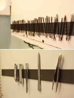 Magnetic Strip for Organizing Bobby Pins | Easy Bathroom Organization Hack by DIY Ready at http://diyready.com/organization-hacks-bathroom-storage-ideas/