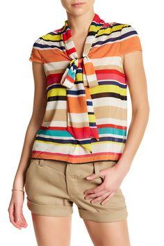 Image of alice + olivia Betsey Multicolor Stripe Blouse