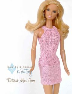 """Knitting pattern for 11 1/2"""" doll (Barbie): Textured Dress ☆"""