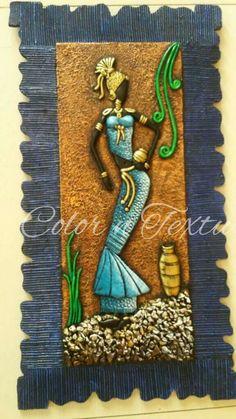 Clay Wall Art, Mural Wall Art, Kerala Mural Painting, Diy Painting, African Paintings, Clay Art Projects, Clock Art, Africa Art, Art N Craft