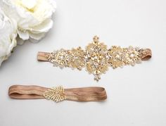 Gold lace wedding garter set, Bridal garter, crystal garter, gold garter - style 467