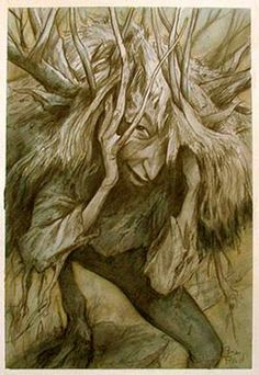 Woodling by Brian Froud  If you see a resemblance to me, that's not accidental. Many of us in the village have ended up in Brian's paintings and drawings - sometimes as beautiful, numinous faeries, sometimes as rooty, earthy creatures like this one. I've been both....