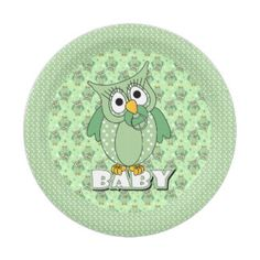 Green Baby Polka Dotted Owl 7 Inch Paper Plate $1.65