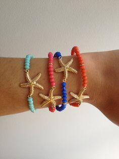 Summer Fun Beaded Starfish bracelet by nancyserenity on Etsy, $6.99