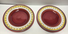 Set 2 Hand Painted Earthenware Pier 1 Del Sol Pattern Dinner Plates Yellow Red | eBay