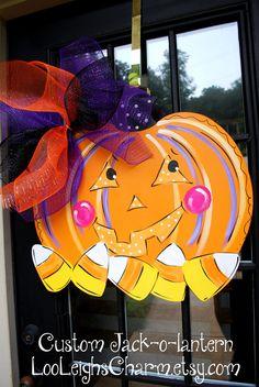 Halloween Door Hanger Jack o lantern Door by LooLeighsCharm, $42.00