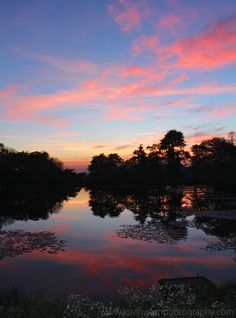 Sunset colours reflected in the lake -x- photo by loren warn -x- www.lorenwarnphotography.com #lorenwarn