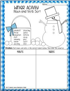 FREE:  Fun winter worksheet that can help students have fun while sorting nouns and verbs.  Then they can color the snowman!If you download this free item, please take the time to leave feedback. I would appreciate it so much.Also, please CLICK THE GREEN STAR next to my store logo to follow me and to receive upcoming sales, freebie and product launches, and email updates!