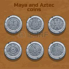 mayas: vieilles pièces de monnaie aztèque et maya argent, élément de jeu de ressources