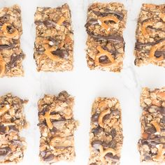 Chocolate Peanut Butter Pretzel Granola Bars -- This granola bar recipe is naturally vegan and gluten free and is packed with healthy ingredients. This takes snacking to a whole new level! Peanut Butter Snacks, Peanut Butter Pretzel, Chocolate Peanut Butter, Gluten Free Snacks, Dairy Free Recipes, Healthy Snacks, Healthy Eating, Healthy Granola Bars, Homemade Granola Bars
