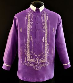 Purple Organza Barong Tagalog #3595 A sharp style for an impeccable formal look. This purple organza barong has a double straight pointed collar. #BarongsRUs #barong