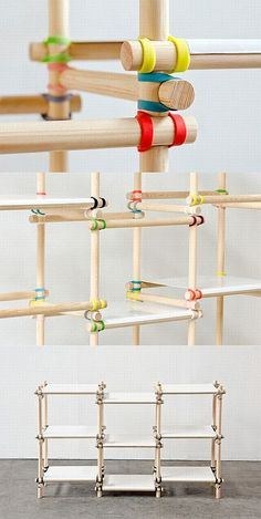 Gummitwist - so simple and so cool! Colored rubber bands & wooden rods you can assemble any way you want. Modular Furniture, Wood Furniture, Furniture Design, Nomadic Furniture, Regal Design, Wood Joints, Shelf Design, Shelving Design, Wood Design
