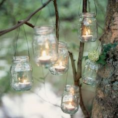 Candles // mason jars // trees // rustic