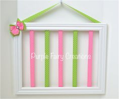 Accessories Organizer Picture Frame - Pink, Lime Green and Hooks (Hair Bow & Headband Holder) Baby Girl, Girl or Teen Room, White, Black