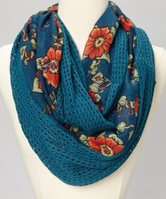 Lagoon Blue Open-Knit Floral Infinity Scarf.