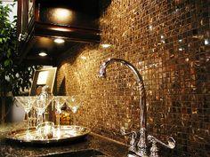 Love the dark cabinets granite and backsplash