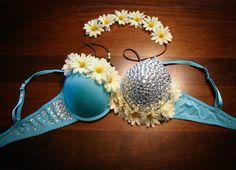 Blue Sky Daisy Rave Bra w/ Matching Flower Headband on Etsy, $65.00