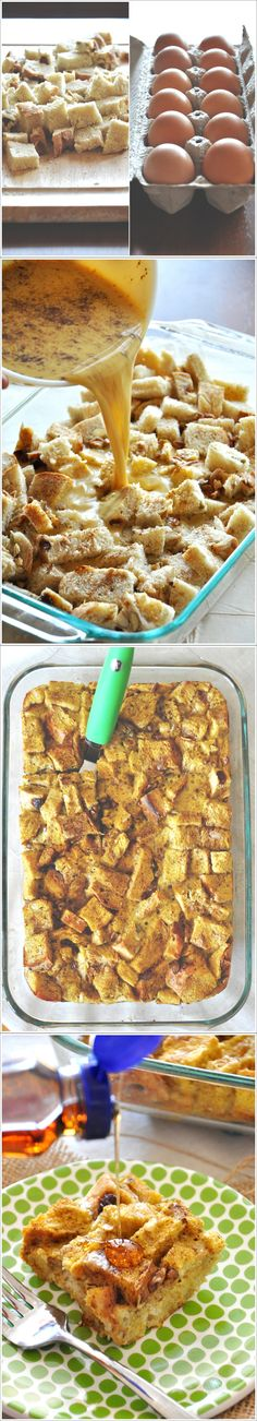 Pumpkin French Toast Bake Ingredients: 8 eggs 1 teaspoon vanilla extract 2 teaspoons ground cinnamon 1/2 teaspoon ground cloves 1/4 teaspoon ground nutmeg 1 tablespoon white sugar 1 (15 ounce) can pumpkin puree 1 loaf Texas toast thick-sliced bread, cut into 1-inch cubes 1/3 cup brown sugar 1/4 teaspoon ground cinnamon 2 tablespoons all-purpose flour 1 tablespoon butter, softened