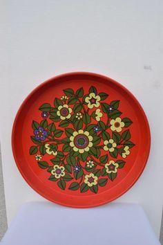 Retro Dienblad Rood Blik Flower 70's Woon & Keuken
