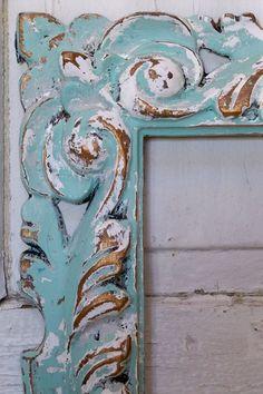 Ornate large frame seafoam green and white rectangular shabby chic wall decor Anita Spero