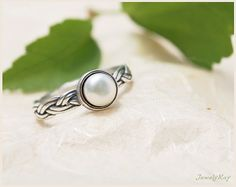 pearl ring. braided ring. thin silver ring. delicate by JewelyRay, $57.00