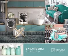 Inusitado, o tom Turquesa quebra a seriedade deste ambiente e deixa a lavanderia moderna e clean.