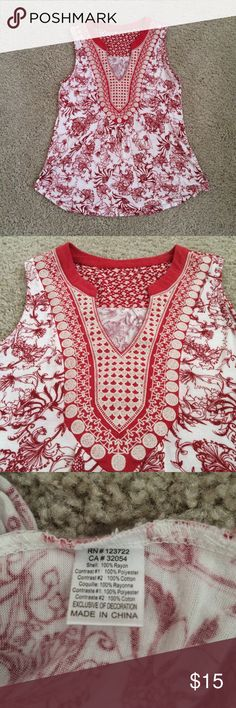 """Anthropologie Sleeveless Top, S Gorgeous top from Anthropologie in GUC. Red and off white.Loved this top but wore it too many times. Comfortable flowy and flattering. Slight pilling under armpits. Looks great with jeans, shorts, pants. Size tag was removed. Bust approx 17"""", side length approx 24"""", back length approx 26.5"""". Anthropologie Tops"""