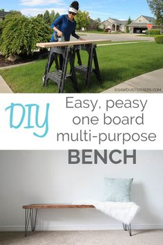 Replace a couple of dining room chairs with this easy DIY functional bench that can potentially double your sitting space. Or use it at the foot of your bed! Or how about the entryway? This easy piece will add extra seating anywhere in your house. Diy Furniture Hacks, Handmade Furniture, Furniture Makeover, Cool Furniture, Ikea Hack Bench, Diy Bench Seat, Dining Room Bench Seating, Dining Room Chairs, Extra Seating