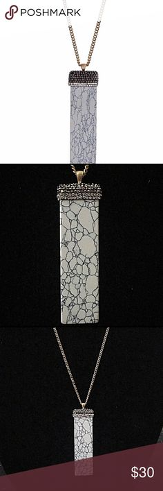🎹📿Howlite Natural & Pavé Stone Pendant Necklace Gold tone necklace with a rectangle Howlite stone pendant accented with clear and gray rhinestones Jewelry Necklaces