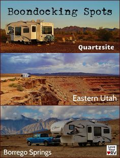 3 terrific boondocking spots - | Quartzsite, Arizona | Goosenecks State Park Utah | Borrego Springs California | http://www.loveyourrv.com/love-your-rv-boondocking-basics/ #RV #RVing #Camping
