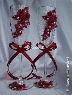 Свадебный комплект в модном ныне винном цвете МАРСАЛА. Выполнен на заказ.  фото 4