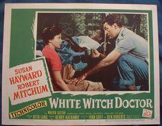 WHITE WITCH DOCTOR Susan Hayward Robert Mitchum Africa Lobby Card #3 1953