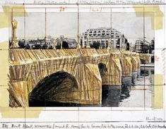 "Christo, ""The Pont Neuf, Wrapped (Project for Paris),"" 1984. 11"" x 14"" (28 x 35.5 cm) Pencil, Enamel Paint, Photograph by Wolfgang Volz, Wax Crayon, and Tape."