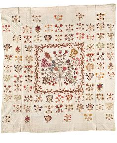 The Fallowfield Quilt, Maker Unknown, Fallowfield, Ontario, c. 1820, hand-spun and hand-dyed wool embroidery on hand-woven linen, 199.4 cm x 177.8 cm, from the collection of the Agnes Etherington Art Centre at Queen's University.