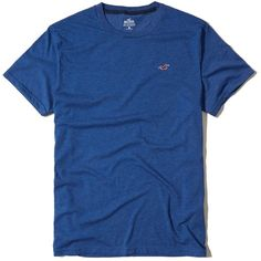 Hollister Must-Have Crew T-Shirt ($9.95) ❤ liked on Polyvore featuring men's fashion, men's clothing, men's shirts, men's t-shirts, dark blue, j crew mens shirts, mens slim fit t shirts, mens slim shirts, mens crew neck t shirts and mens leopard print t shirt
