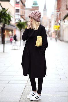 knit hat, adidas, black skinnies