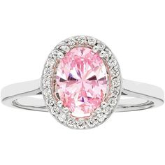 Sterling Silver Pink Cubic Zirconia Oval Halo Ring (€215) ❤ liked on Polyvore featuring jewelry, rings, pink, pink ring, oval cz ring, enhancer ring, cubic zirconia jewelry and sterling silver cz rings