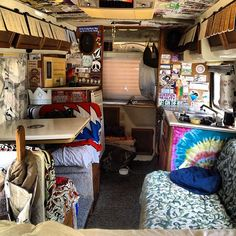 Inside a hippie RV.