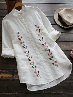 Floral Embroidered Button Up Linen Shirt - embroidery Embroidery On Kurtis, Hand Embroidery Dress, Kurti Embroidery Design, Hand Embroidery Videos, Embroidery On Clothes, Flower Embroidery Designs, Embroidered Clothes, Embroidery Fashion, Vintage Embroidery