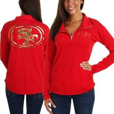 Victoria's Secret PINK San Francisco 49ers Ladies Half-Zip Sweatshirt - Scarlet