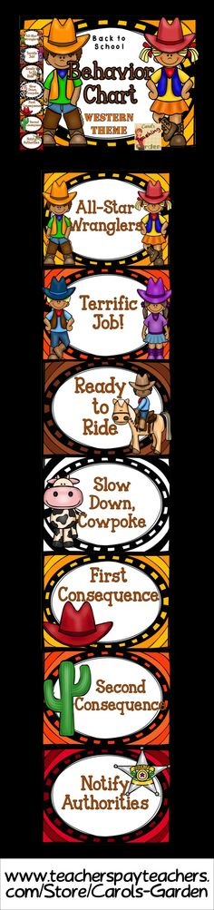 "Back to school classroom management behavior chart with a western theme will help you manage your classroom environment in a fun and attractive way. Goes great with western themed classes! Students will want to be the ""All Star Wrangler"" as they work with you and your behavioral expectations with this hands-on method to monitor and direct student choices. $"
