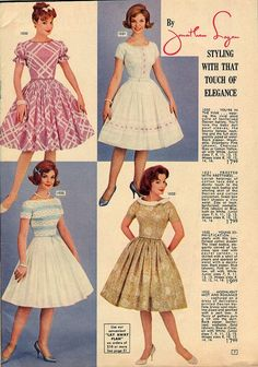 lana lobell | Four lovely dresses from a 1962 Lana Lobell catalog. #vintage #fashion ...