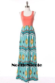 Coral and Turquoise Aztec Maxi Dress! Sizes S, M and L!   https://www.facebook.com/NoelleNicoleShop