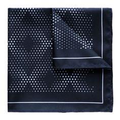 Kingsquare 100% Silk Black Navy Pocket Square Diamond Dot with Gift Box